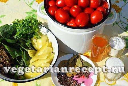 помидоры для консервирования и пряности
