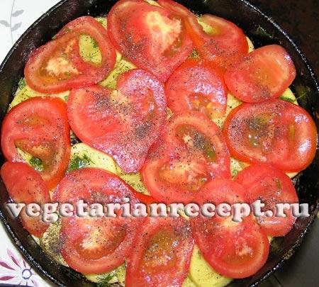 запеченная картошка с помидорами и кабачками