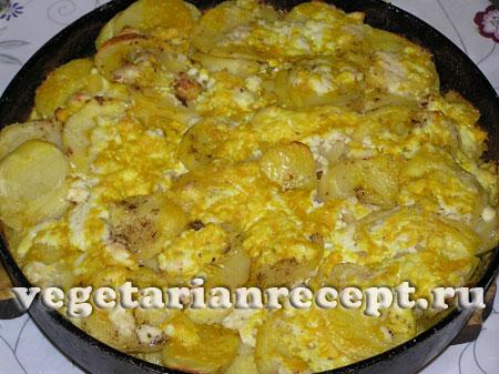 картошка в духовке с яйцом и сыром