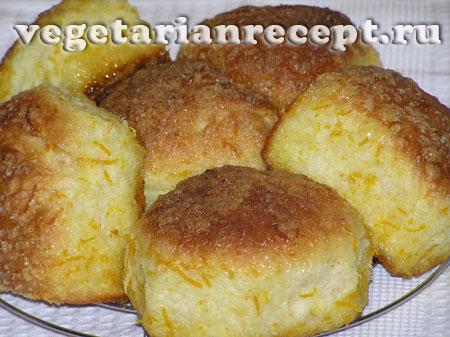 Сладкие дрожжевые апельсиновые булочки без яиц