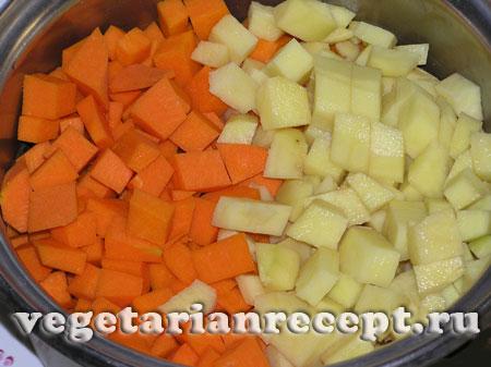Тыква и картофель для приготовления супа