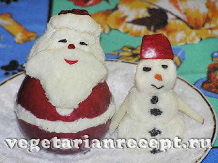 Украшение новошоднего стола - съедобный Дед Мороз и Снеговик своими руками