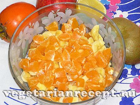 Порезанные мандарины для фруктового салата (фото_