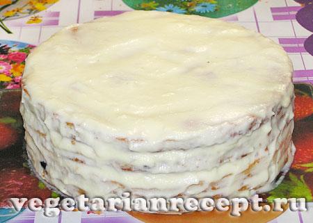 Торт Аленушка, намазанный кремом (фото)