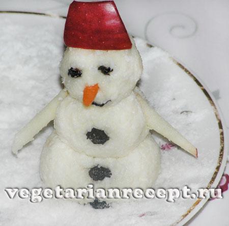 Снеговик из творога готов