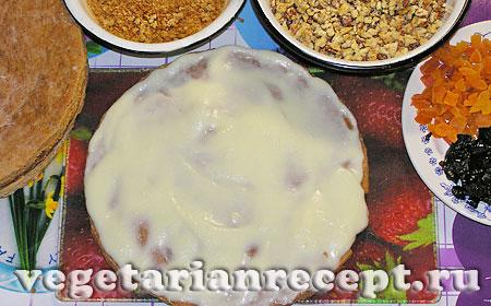 Торт без яиц. Корж намазанный кремом (фото)