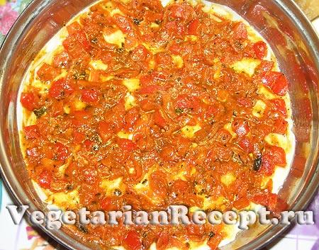 Приготовление вегетарианской лазаньи. Слой овощей (фото)