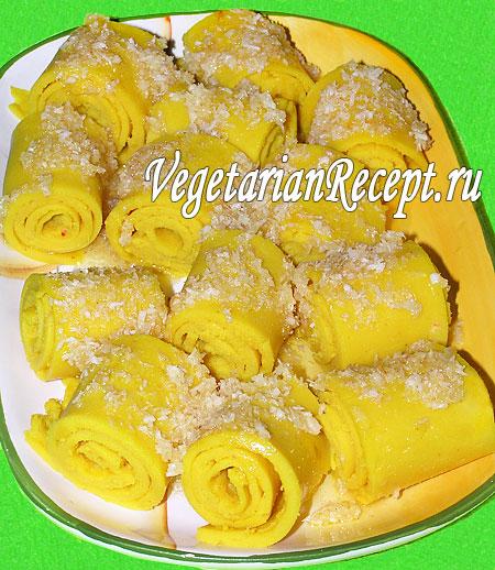 Индийское блюдо. Рулеты из гороховой муки (фото)