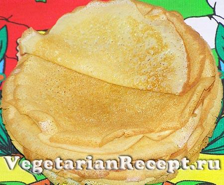 Вегетарианские блины без яиц готовы (фото)