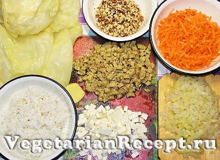 Ингредиенты для приготовления вегетарианских голубцов