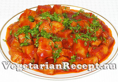 Сейтан в томатном соусе готов (фото)