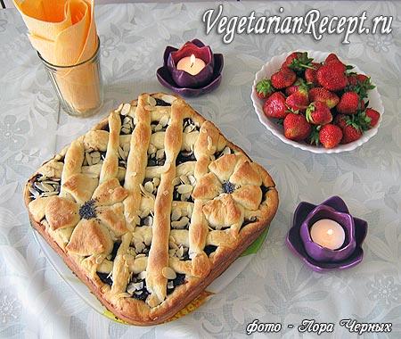 Открытый пирог с повидлом без яиц (фото)