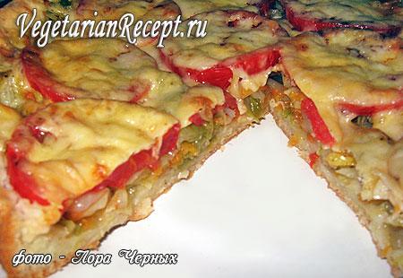 Бездрожжевая пицца с капустой и помидорами