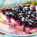 Открытый пирог с творогом и черной смородиной (без яиц)
