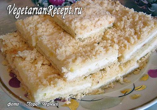 Тертый пирог с творогом без яиц. Фото-рецепт.