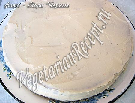 Бисквитный торт без яиц в креме. Фото.