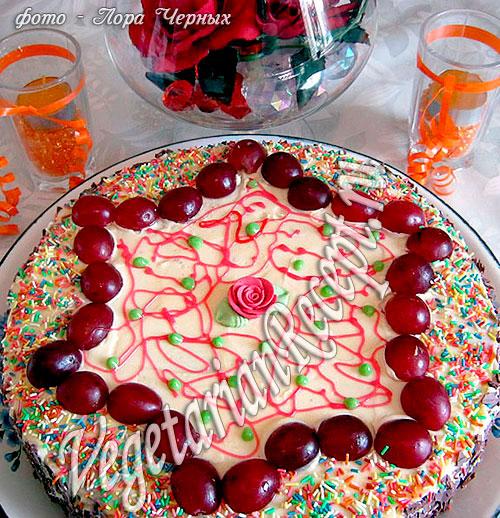 Бисквитный торт без яиц. Фото-рецепт.