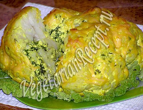 Цветная капуста, фаршированная сыром