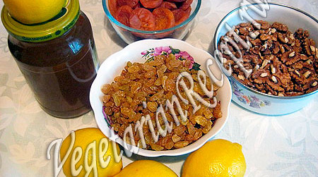 Курага, изюм, орехи, мед, лимон