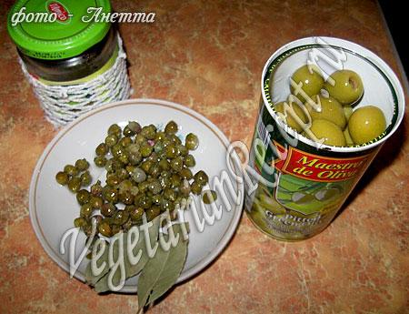 Оливки и каперсы для вегетарианской солянки