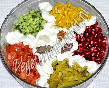 Салат с жареной картошкой и гранатом (фото-рецепт)