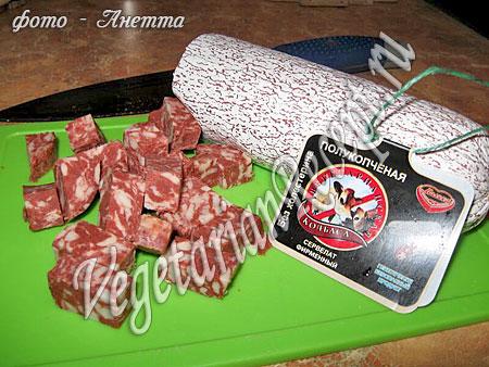 Вегетарианская колбаса для солянки