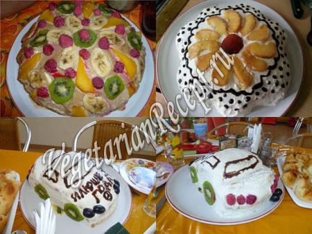 Творожно-фруктовый бисквитный торт