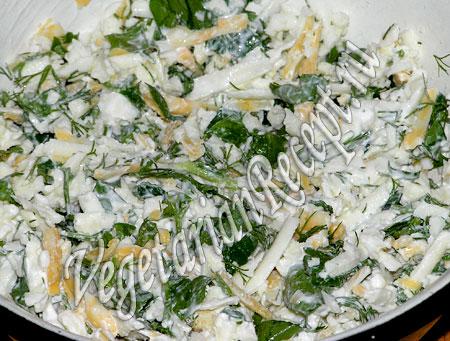 Начинка для блинов с сыром и зеленью