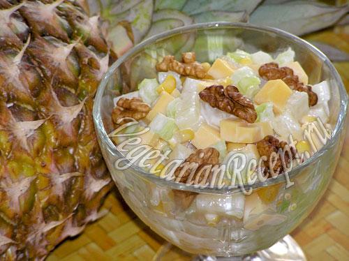 Салат с сыром и ананасом
