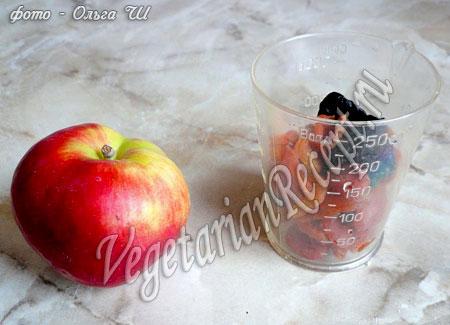 яблоко и сухофрукты для начинки