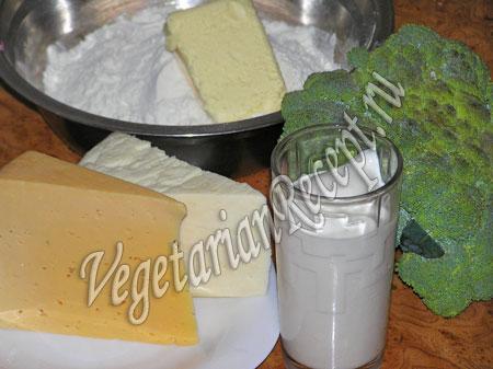 продукты для приготовления пирога из брокколи