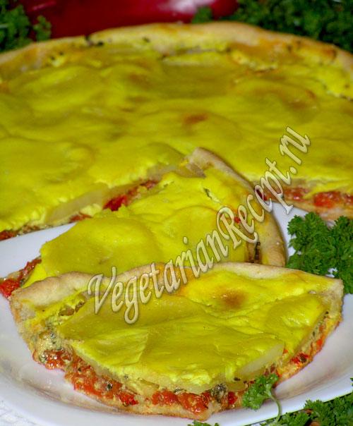 пирог с сырым картофелем, помидорами, перцем