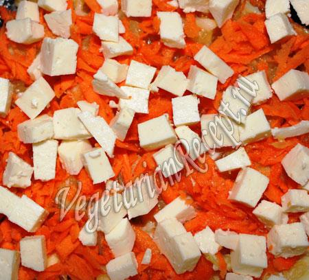 слой корейской морковки и сыра