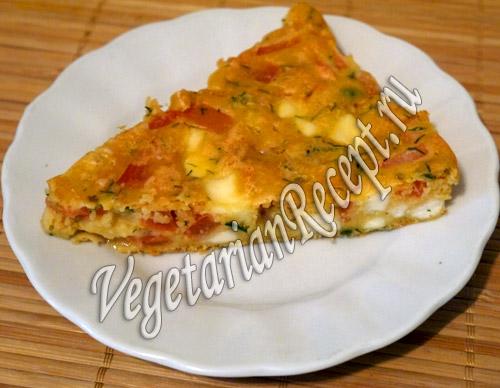 гороховый пирог с помидорами и сыром