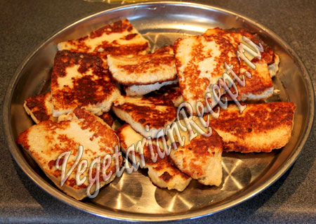 жареный сыр для закуски-снеговиков