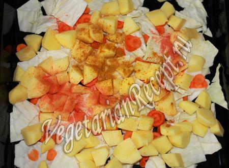 картошка с капустой и специями