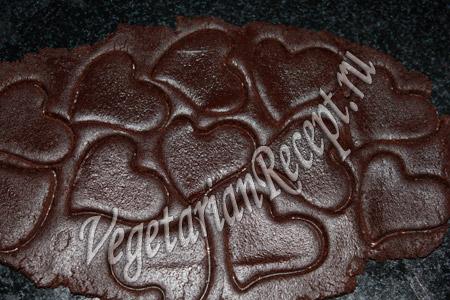 шоколадное печенье - вырезаем сердечки