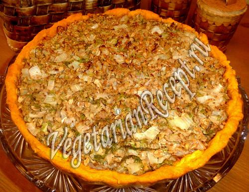 рецепт постный пирог с капустой