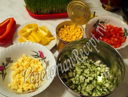 продукты для слоеного салата с рисом