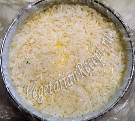 шестой слой слоеного салата  - рис