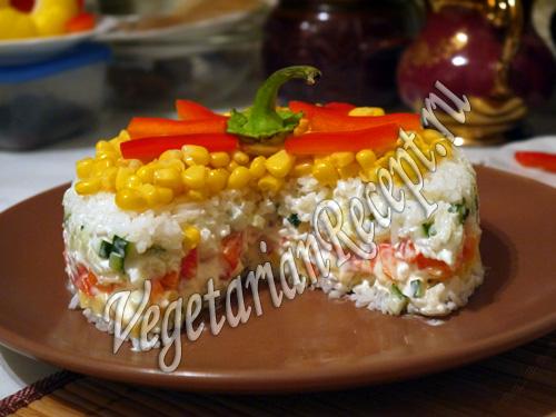 слоеный салат с рисом фото