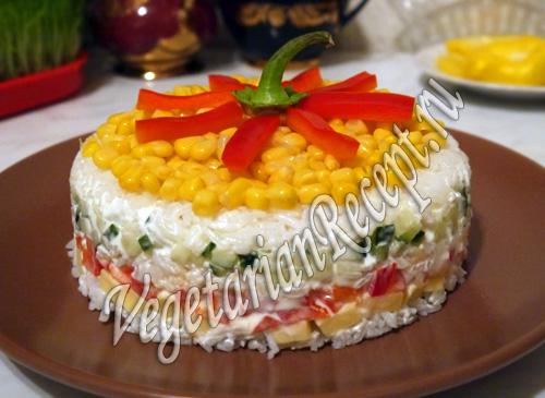 слоеный салат с рисом