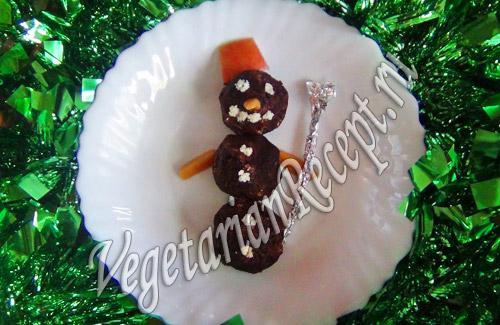 творожные конфеты снеговик