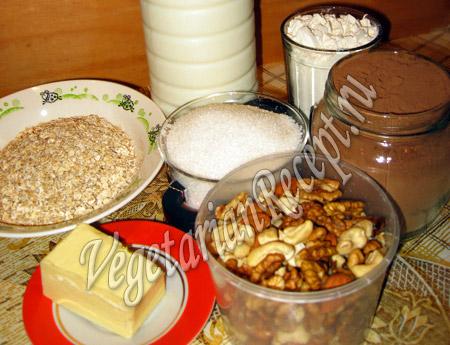 продукты для овсяного печенья с орехами
