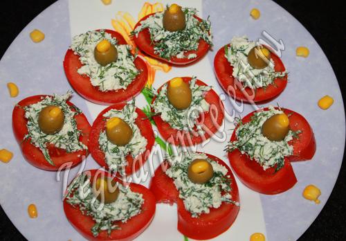 помидоры с творогом и оливками рецепт