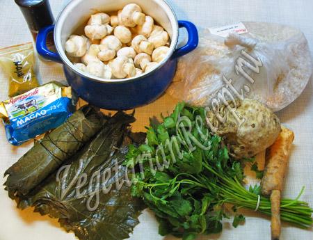 виноградные листья и продукты для долмы
