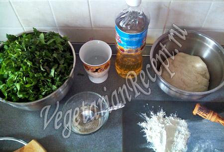 продукты для приготовления кутабов с зеленью