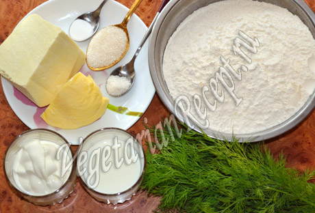 продукты для хачапури с сыром и зеленью
