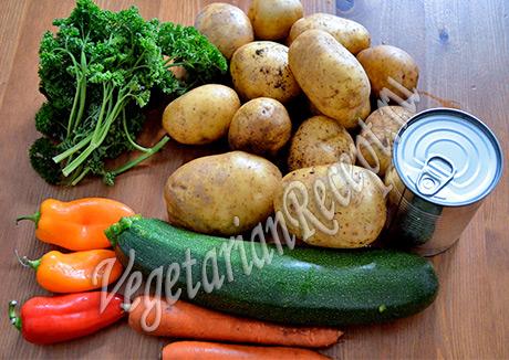 картофель, кокосовое молоко, морковь, перец, зелень