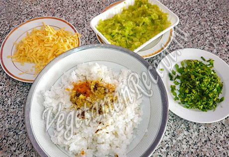 ингредиенты для запеканки с рисом и кабачками